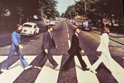 The Beatles at the zebra crossing on Abbey Road, London