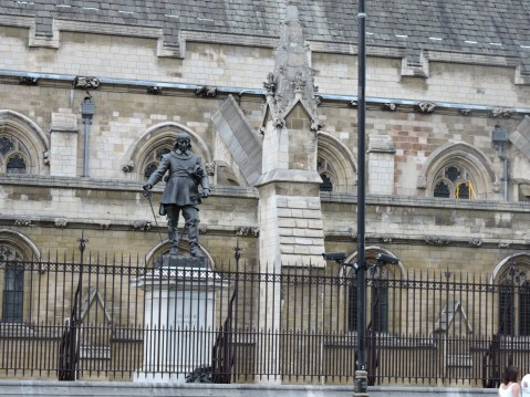 The Oliver Cromwell Statue at Cromwell Green, outside Westminster Hall