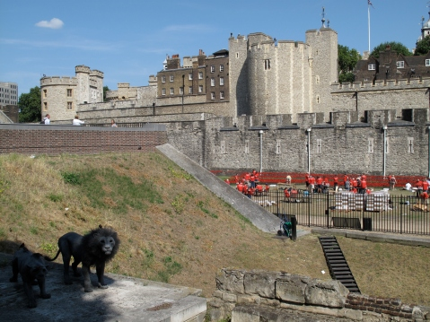 The Tower of London with lions